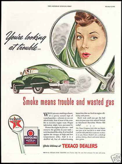 Pretty Woman Car Mirror Smoke Texaco (1943)