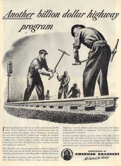 American Railroads Rail Road Worker Ad T (1945)