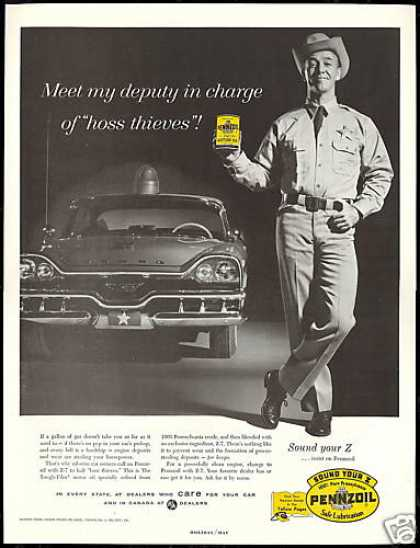 Police Trooper Car Photo Pennzoil Oil (1957)