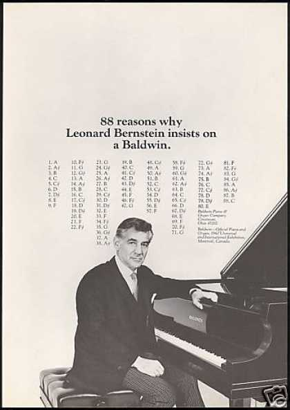 Leonard Bernstein Photo Baldwin Piano (1967)