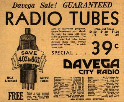 Arrow Radio Tube's Radio Tubes – Davega Sale! Guaranteed Radio Tubes (1934)