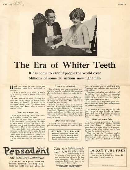 Pepsodent Company's Pepsodent Tooth Paste – The Era of Whiter Teeth (1924)