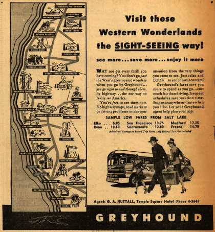 Greyhound's West coast destinations – Visit these Western Wonderlands the Sight-Seeing way (1946)