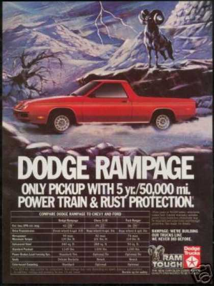 Dodge Red Rampage Truck Pickup Photo (1983)