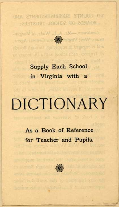 J. B. Lippincott Co.'s Dictionary – Supply Each School in Virginia with a Dictionary