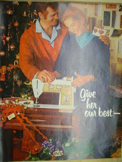 Singer Sewing Machines. Give her the best. Christmas theme (1970)