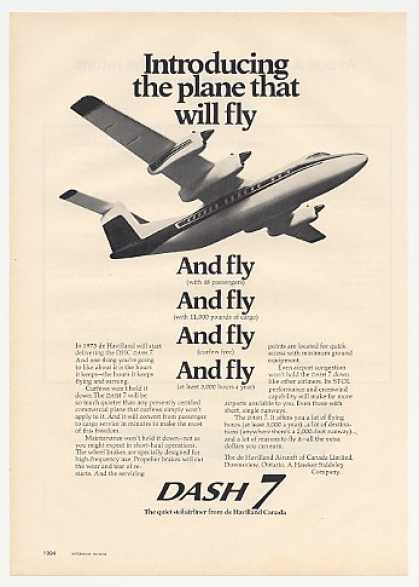 De Havilland Dash 7 Plane Photo (1973)