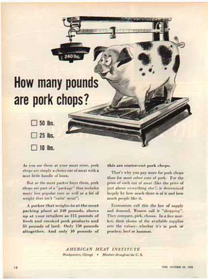 American Meat Institute – How many pounds are chops? – Sold (1949)