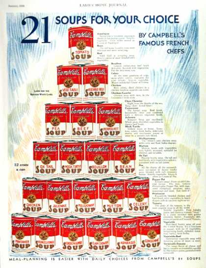 Campbell's Soup 21 Choices (1931)