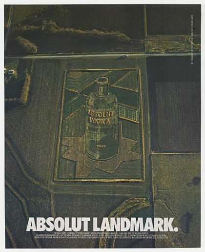 Absolut Landmark Vodka Bottle Farm Field (1992)