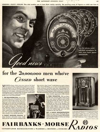 Fairbanks-Morse Radio's Radio – Good News... for the 20,000,000 men who've Cussed short wave (1936)