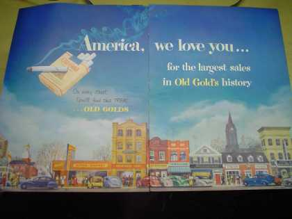 Old Gold Cigarettes America we love you for the largest sales in Old Gold history (1950)