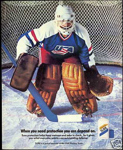USA Hockey Team Goalie Photo Vintage Sure (1988)