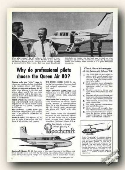 Beechcraft Queen Air 80 Photos Ad Airplane (1963)