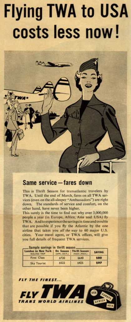 Trans World Airline's Thrift Season Fares – Flying TWA to USA costs less now (1955)