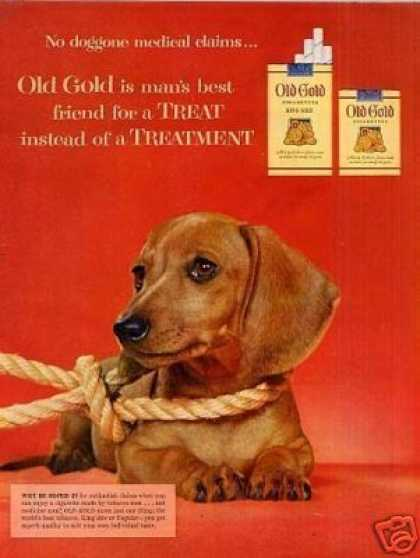 Old Gold Cigarettes Ad Dachshund (1954)