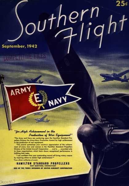 "Hamilton Standard Propellers (Div. of United Aircraft Corp.)'s Army Navy ""E"" – ""for High Achievement in the Production of War Equipment"" (1942)"