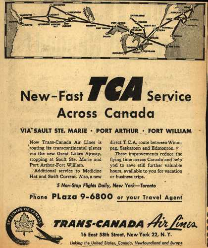 Trans-Canada Air Line's Canada – New-Fast TCA Service Across Canada (1947)
