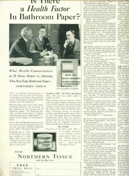 Northern Tissue Toilet Paper Ad 1/2 Page (1929)