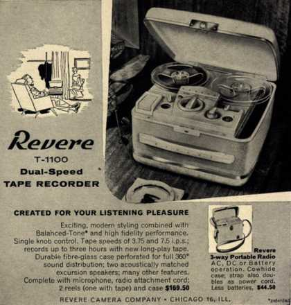 Revere Camera Company's Tape Recorder / Portable Radio – Revere T-1100 Dual-Speed Tape Recorder. Created for Your Listening Pleasure. (1956)