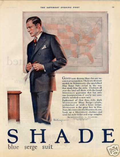 Middishade Blue Serge Suit Color Ad 2 Page (1927)