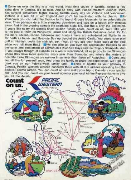 Pacific Western Airlines Ad With Route Map (1971)