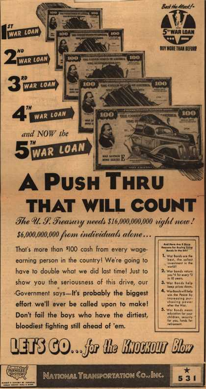 National Transportation Co.'s 5th War Loan – A Push Thru That Will Count (1944)
