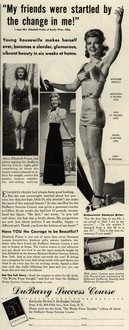 """Richard Hudnut's DuBarry Success Course – """"My friends were startled by the change in me!"""" (1940)"""