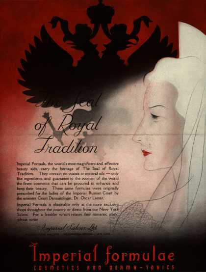 Imperial Salons, Ltd.'s Imperial formula – The Seal of Royal Tradition (1936)