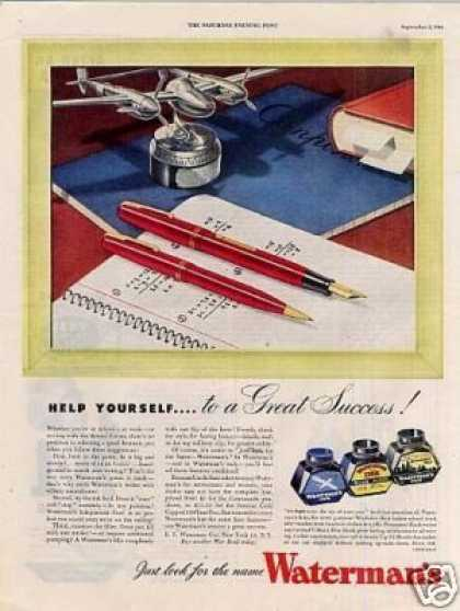"Waterman's Fountain Pen Ad ""Help Yourself... (1944)"