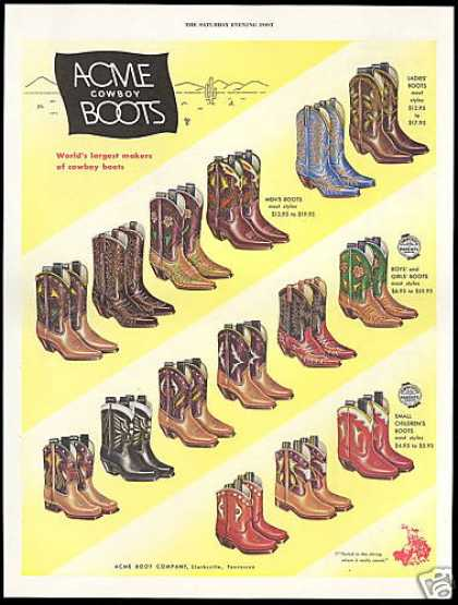 Acme Cowboy Boots Mens Ladies Boys Girls (1952)