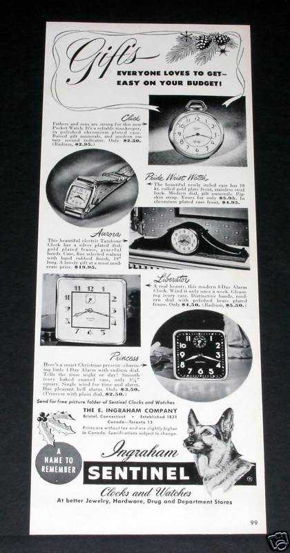 Ingraham Sentinel Watch & Clock (1949)