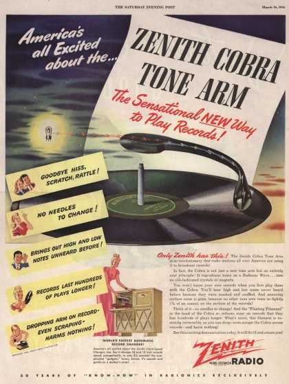 Zenith Radio Corporation's Radio-Phonograph – America's all Excited about the Zenith Cobra Tone Arm The Sensational NEW Way to Play Records (1946)
