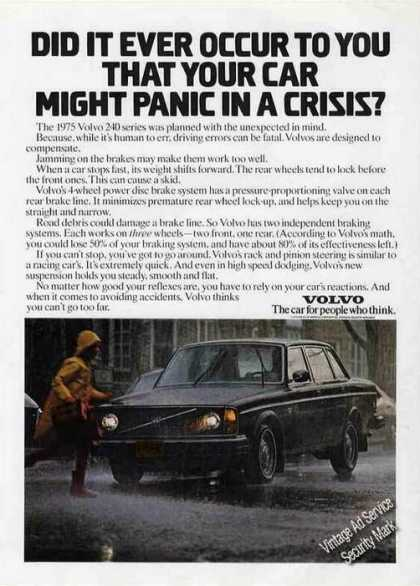 "Volvo 240 ""Panic In a Crisis? Car (1975)"