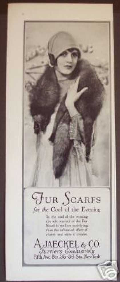 A. Jaeckel Furriers 5th Ave Fur Scarf Photo (1927)