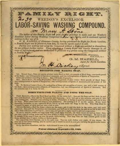 H. W. Weedon&#8217;s Weedon&#8217;s Excelsior Labor-Saving Washing compound &#8211; Family Right