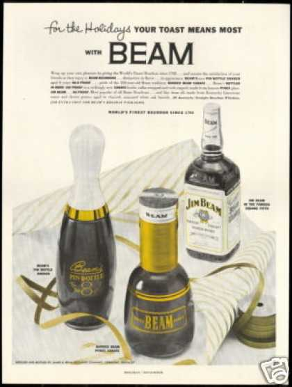 Jim Beam Bourbon Whiskey 3 Bottle Photo (1954)