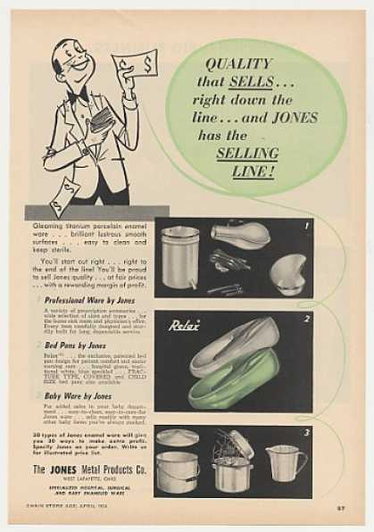 Jones Porcelain Enamel Ware Relax Bed Pan Trade (1954)