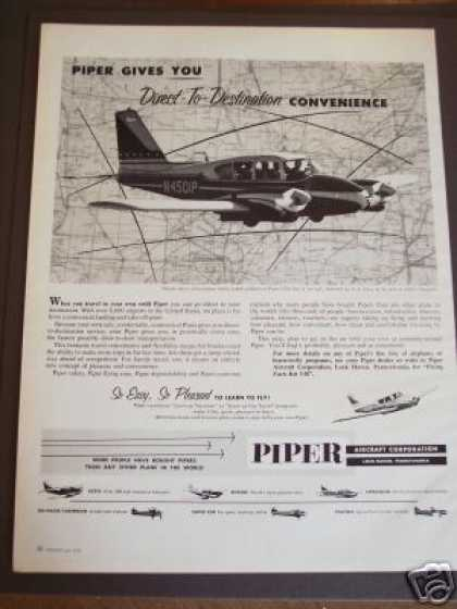 Piper Aircraft Aztec Twin Engine Airplane Photo (1960)