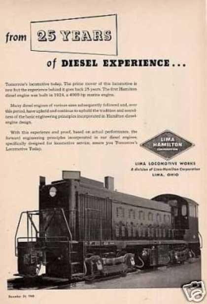 Lima Locomotive Ad Diesel Switcher (1949)