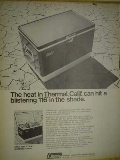 Coleman Coolers Heat in Thermal California 116 degrees in shade (1968)