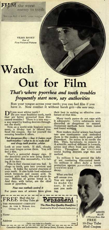 Pepsodent Company's tooth paste – Watch Out for Film (1925)