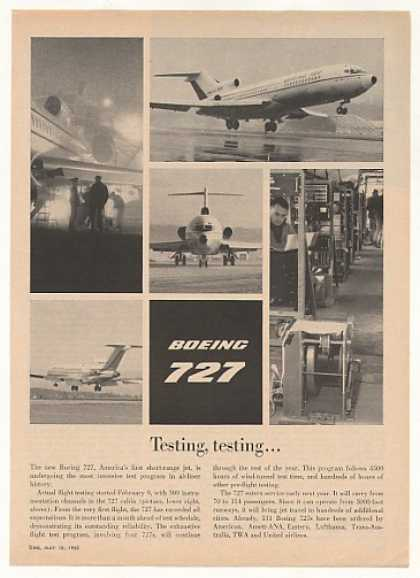 Boeing 727 Jet Flight Testing 5 Photo (1963)