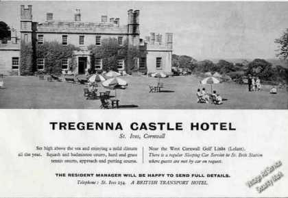 Tregenna Castle Hotel St Ives Cornwall Uk Photo (1960)