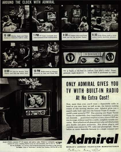 Admiral Corporation's Television/Radio combination – Only Admiral Gives You TV With Built-In Radio At No Extra Cost (1952)