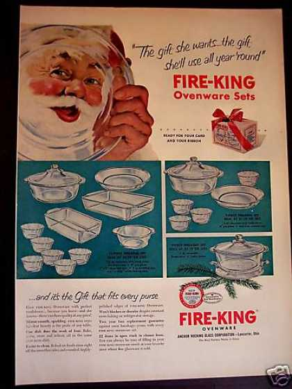 Fire-king Ovenware Set for X-mas Santa Claus (1952)