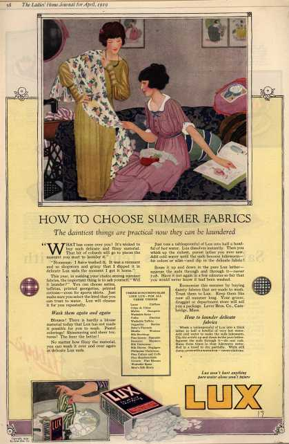 Lever Bros.'s Lux (laundry flakes) – How To Choose Summer Fabrics (1919)