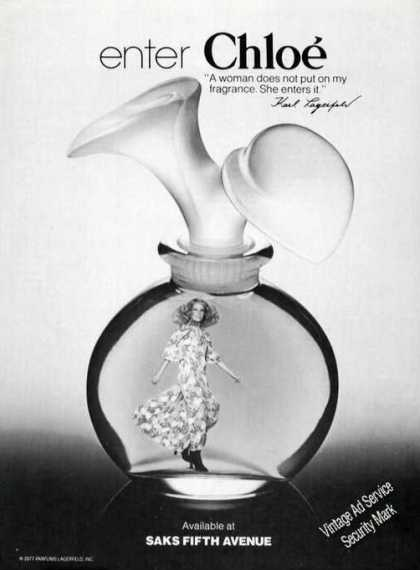 Chloe Perfume Nice Saks Fifth Avenue Advertising (1977)