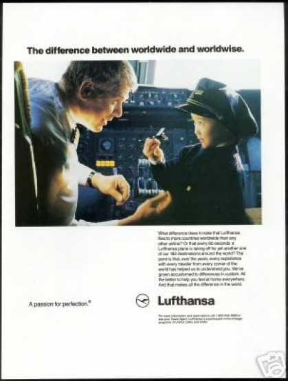 Lufthansa Airlines Vintage Pilot Cockpit Photo (1992)