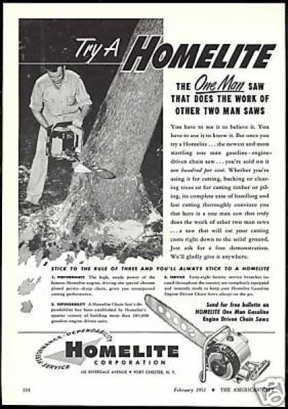 Homelite Chain Saw Chainsaw Vintage Print Photo (1951)